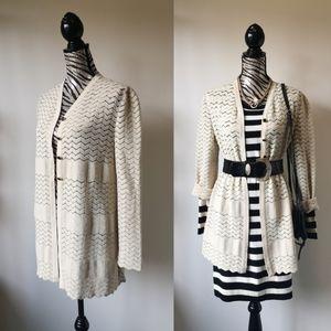 Escada long line chevron wool blend cardigan